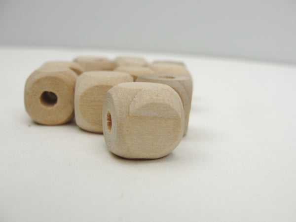 "Wooden square bead with rounded corners 1/2"" with a 5/32"" hole - Wood parts - Craft Supply House"