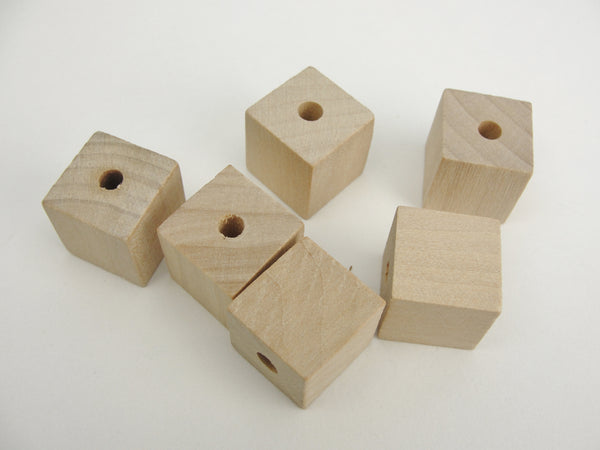 "Wooden square cube beads 3/4"" with a 3/16"" hole - Wood parts - Craft Supply House"