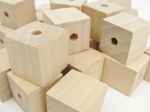 "Wooden square cube beads 3/4"" with a 3/16"" hole"