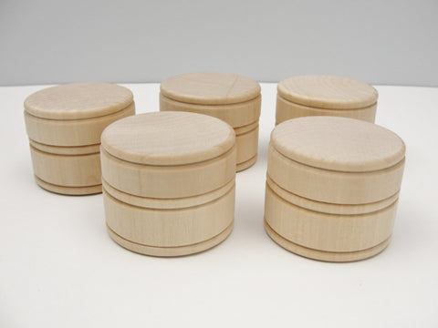 Wooden ring box or keepsake box, middle size of 3, set of 5 - Wood parts - Craft Supply House