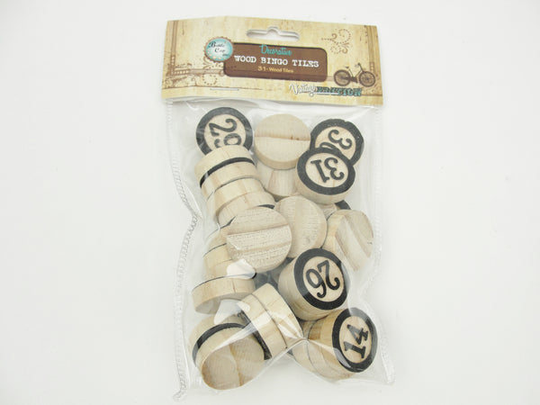 Round wooden bingo tiles set of 31 - Mixed Media Art Supplies - Craft Supply House