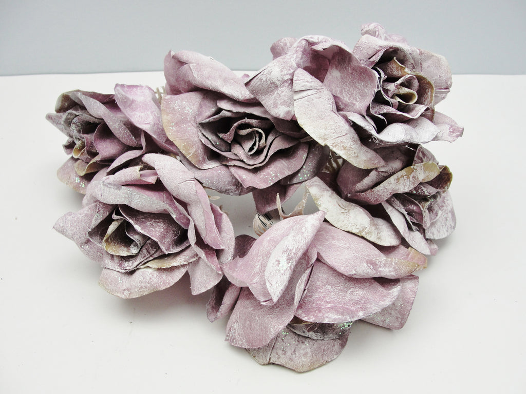 Mauve frosted rose floral picks set of 6 - Floral Supplies - Craft Supply House