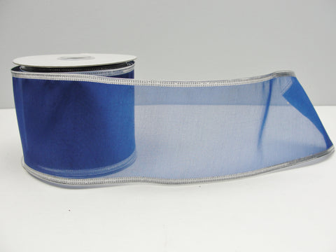 "Wire Edge Floral Ribbon Royal Blue with silver edging 2.5"" wide"