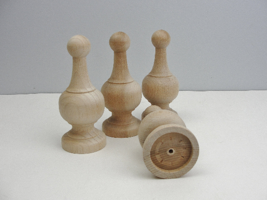 "Wooden finial 4 1/2"" set of 4"