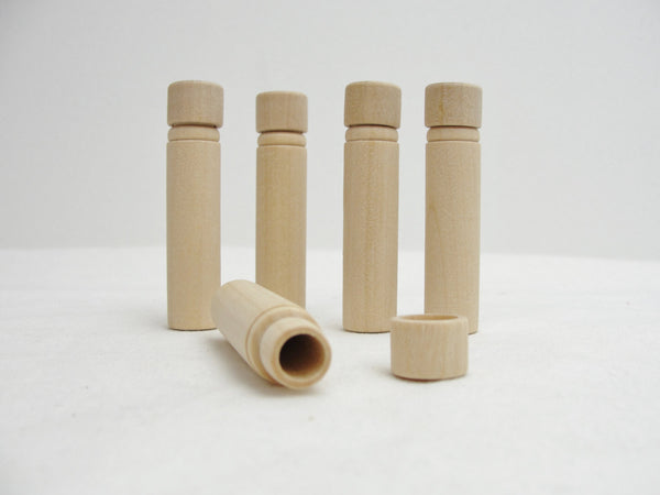 Wood needle case tube set of 5 - Wood parts - Craft Supply House