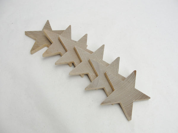 "Traditional 3 inch (3"") wooden stars, wood star, unfinished DIY set of 6"