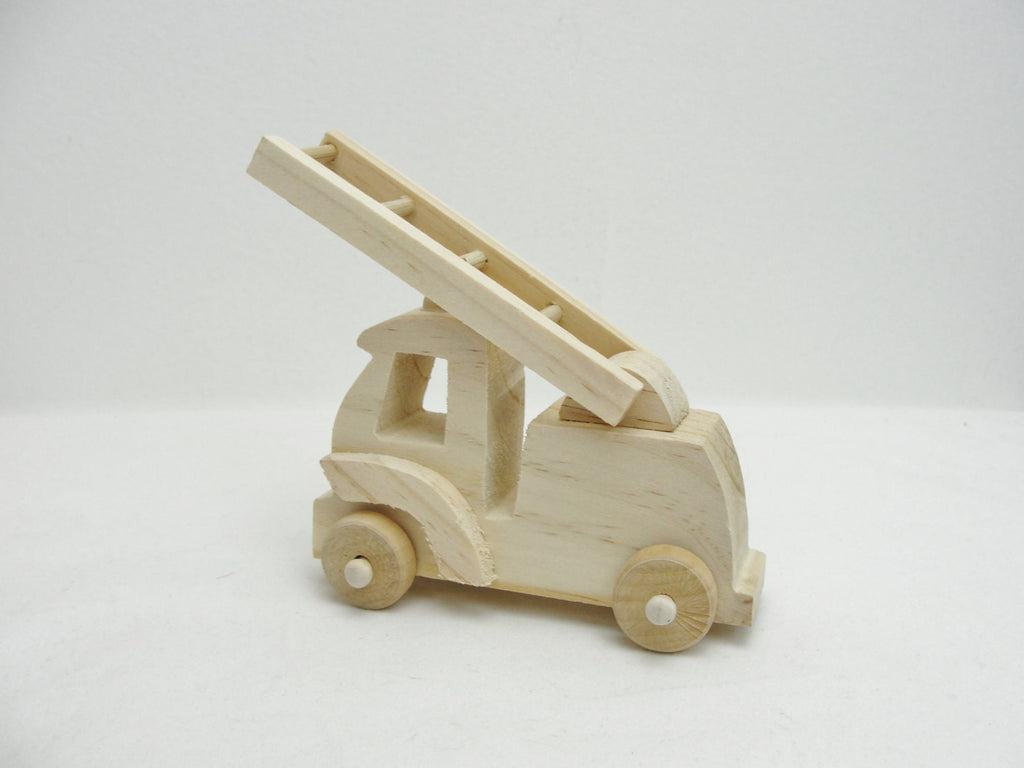 Small wooden fire truck DIY paint your own - Wood parts - Craft Supply House