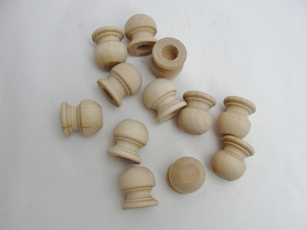 "Wooden end cap Finial 1 1/16"" tall, 1"" wide end cap set of 12"