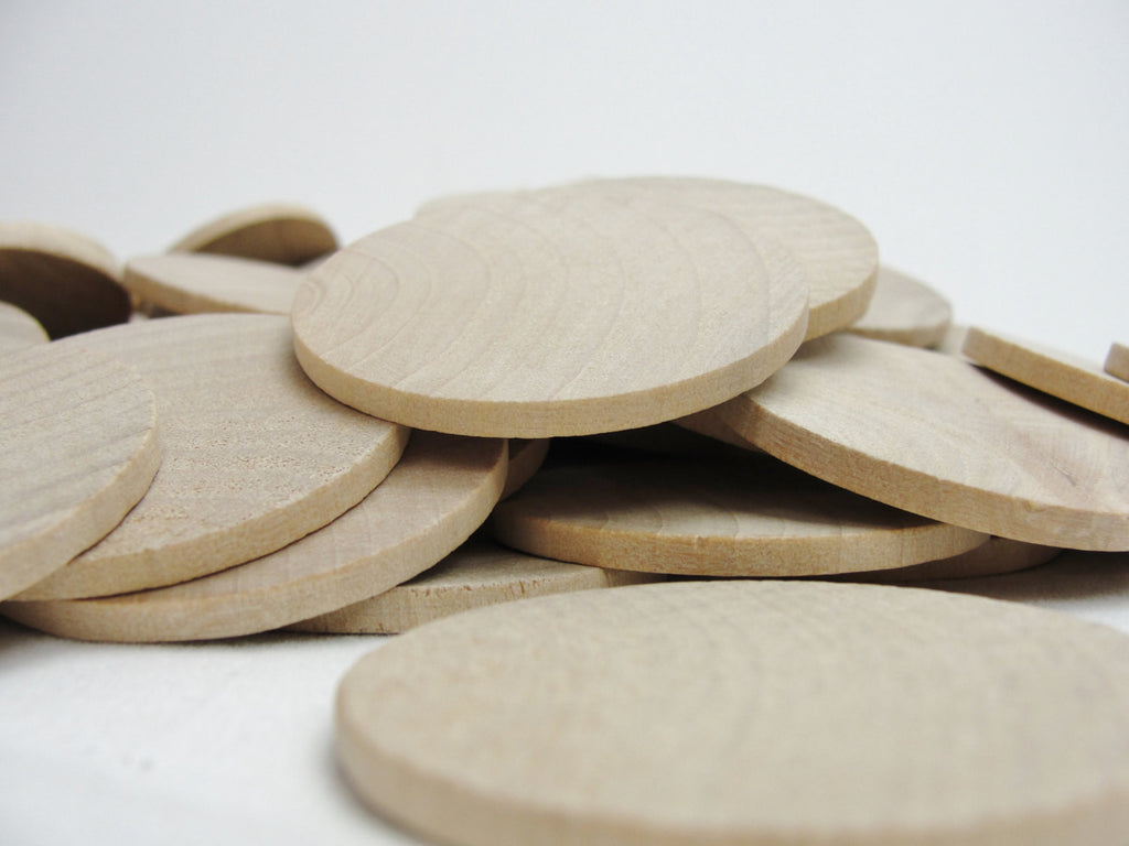 "Wooden Circle, 1 3/4"" wooden disc, wooden disk 1.75"" x 1/8"" thick unfinished DIY - Wood parts - Craft Supply House"