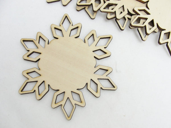 "Wooden snowflake large DIY 4"" set of 5 - Wood parts - Craft Supply House"