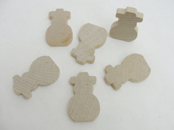"Snowman cutout 1 3/4"" tall set of 6 - Wood parts - Craft Supply House"