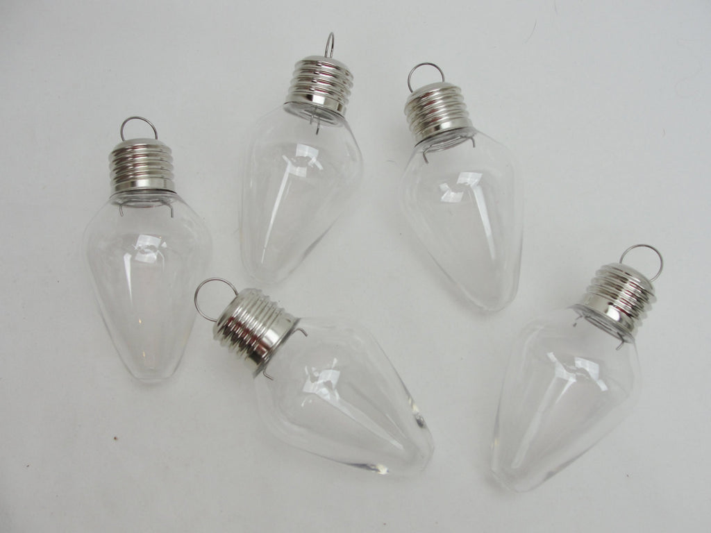 Plastic fillable light bulb shaped ornament set of 5 - General Crafts - Craft Supply House