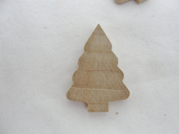 "Wooden Christmas tree cutout 1 3/8"" x 15/16"" x 3/16"" set of 6 - Wood parts - Craft Supply House"