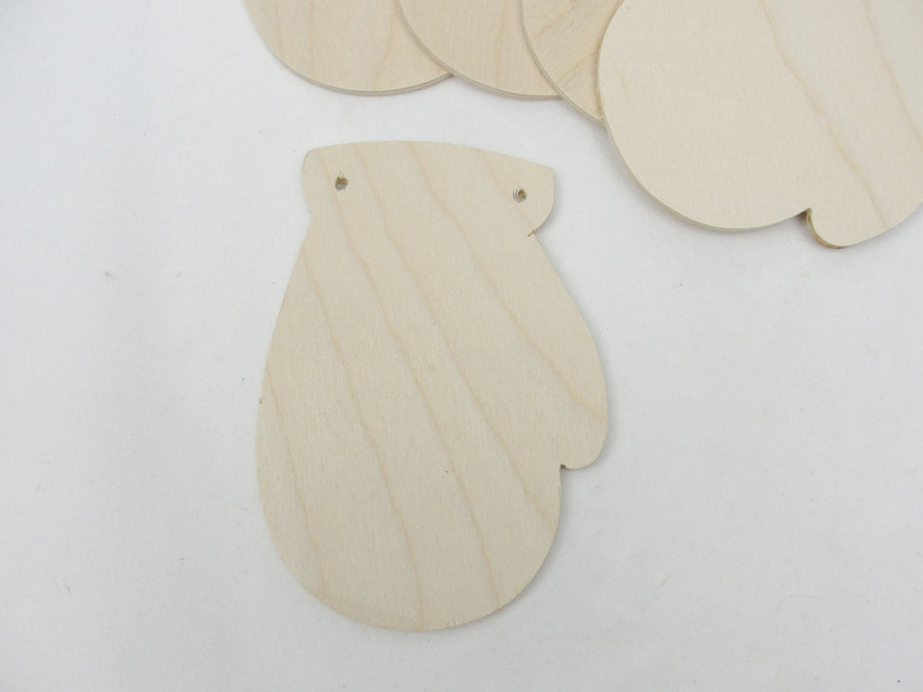 Wooden mitten ornament with 2 holes set of 5 - Wood parts - Craft Supply House