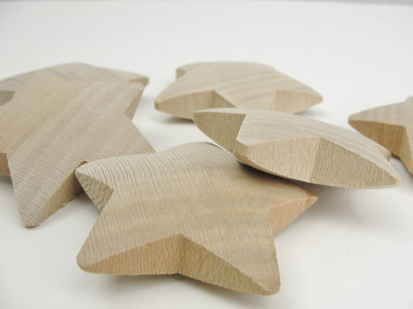 "6 Wooden puffy Stars 2 1/4"" - Wood parts - Craft Supply House"