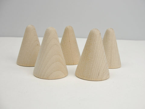 "5 Wooden cones 1 3/4"" tall, wooden contemporary Christmas tree - Wood parts - Craft Supply House"