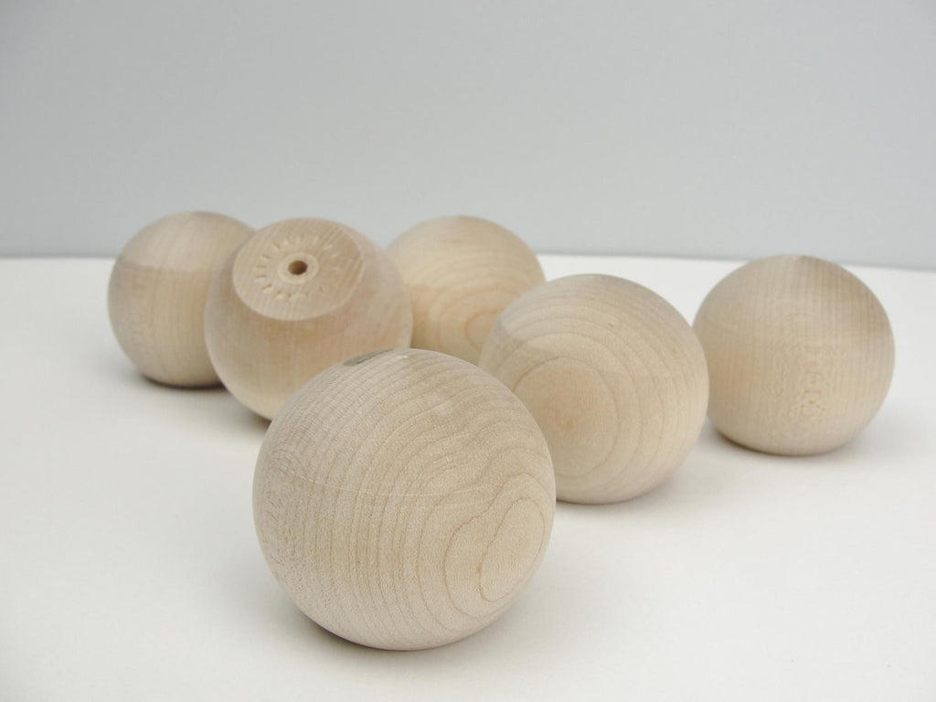 "Wooden ball knob 2"" (2 inch ball knob) solid wood set of 6 - Wood parts - Craft Supply House"