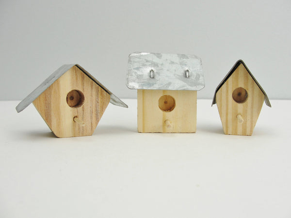 Mini wood and metal birdhouses set of 6 - Wood parts - Craft Supply House