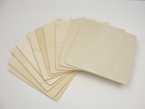 "5"" Wooden squares, large wood square tiles, set of 10 - Wood parts - Craft Supply House"