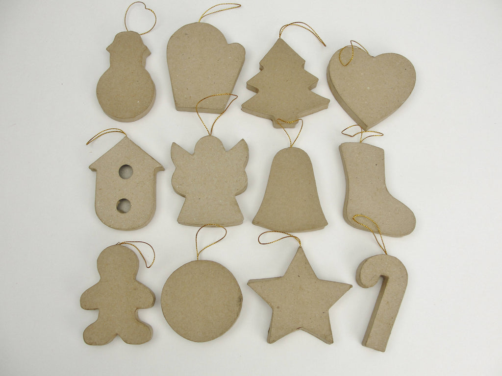 Paper mache ornament shapes ready to decorate set of 12