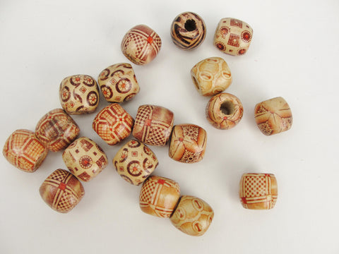 Barrel printed bead 16mm set of 12 - Wood parts - Craft Supply House