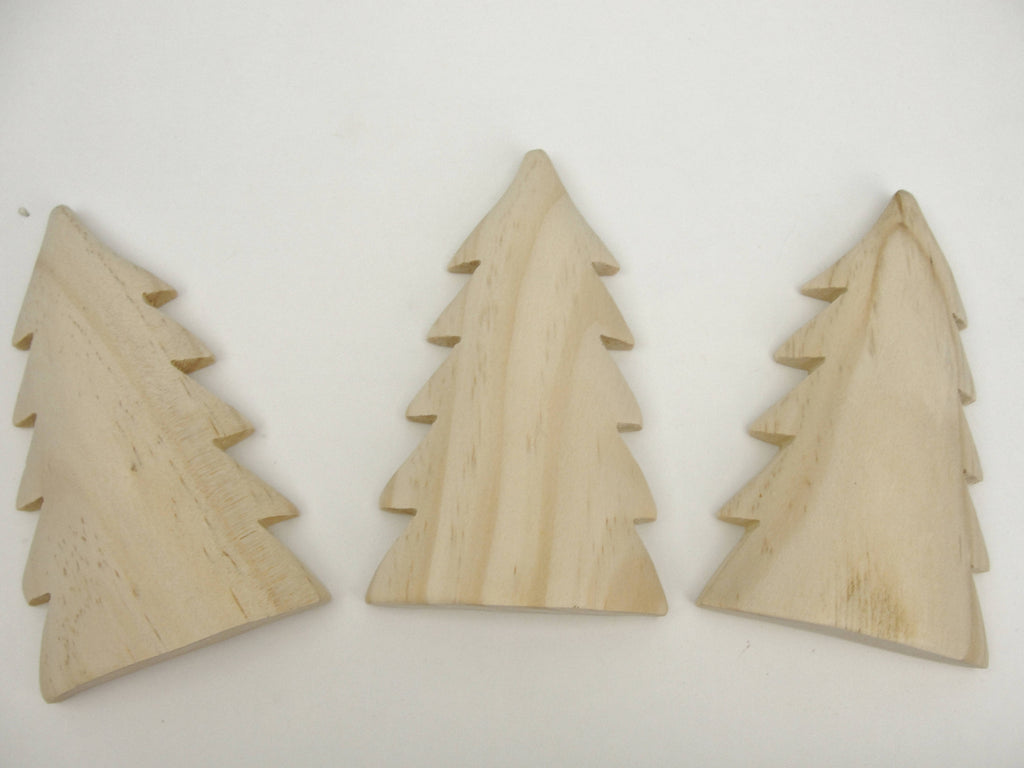 "Tall Puffy tree cutout unfinished diy 4 1/2"" tall set of 3"