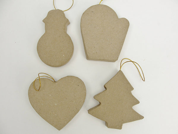 Paper mache ornament shapes ready to decorate set of 12 - Paper Mache - Craft Supply House