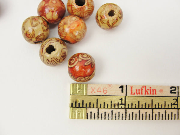 Barrel printed bead 12mm set of 20 - Wood parts - Craft Supply House