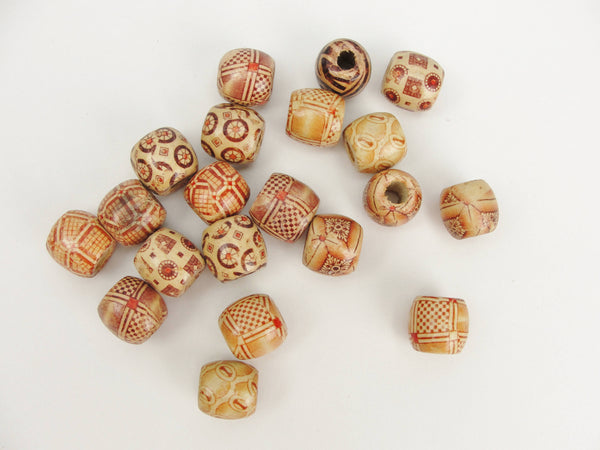 Barrel printed bead 16mm set of 12 - General Crafts - Craft Supply House