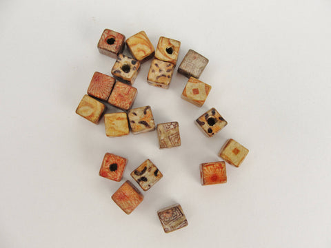 Square printed bead 8mm set of 20