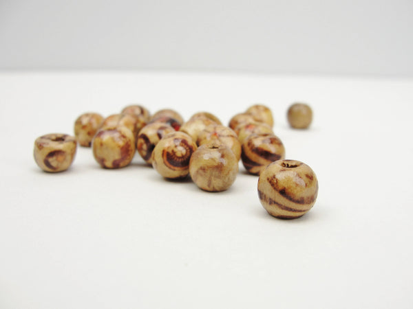 Round printed bead 9mm set of 20 - Wood parts - Craft Supply House