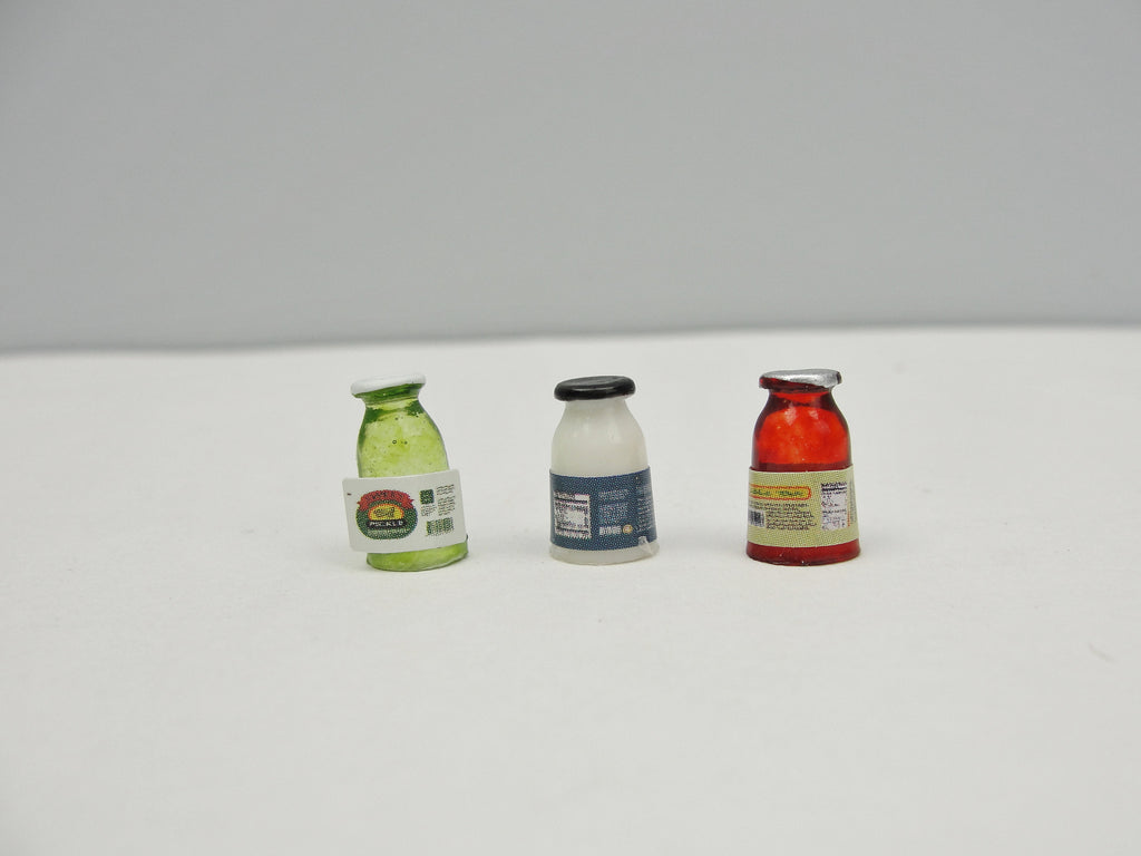 Dollhouse condiment jars set of 3 - Miniatures - Craft Supply House