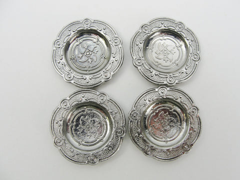 Dollhouse miniature pewter plates set of 4 - Miniatures - Craft Supply House