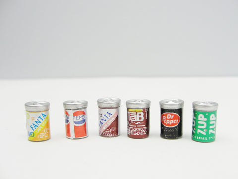 Dollhouse miniature soda cans set of 6 - Miniatures - Craft Supply House