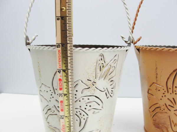 Small metal buckets with flower and butterfly cut out (choose cream, butterscotch, or rust) - Floral Supplies - Craft Supply House