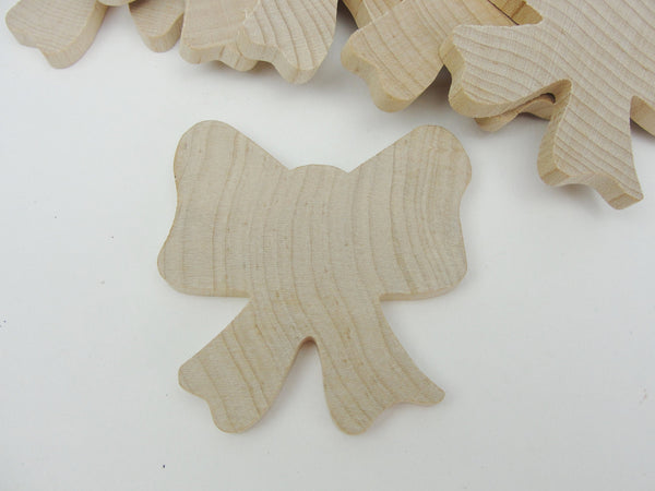 "Wooden bow 2 1/4"" x 2 1/8"" x 1/4"" set of 6"