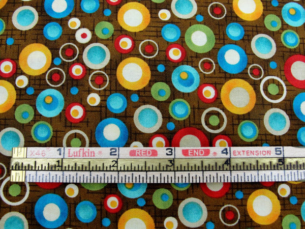 Doodle Days Calendar dots on brown fabric by Henry Glass yardage - Fabric - Craft Supply House