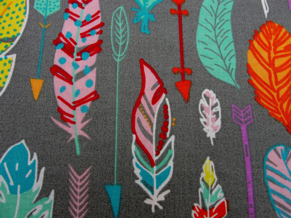 3 wishes feathers and arrows pastel on gray fabric yardage - Fabric - Craft Supply House