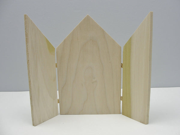 Triptych unfinished wood gothic top hinged wooden small screen - Wood parts - Craft Supply House