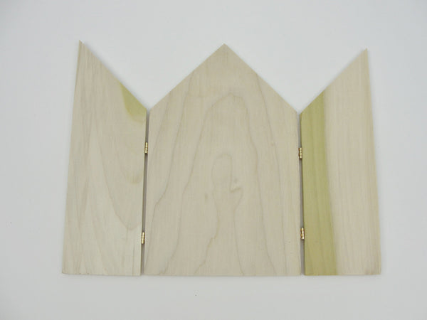 Triptych unfinished wood gothic top hinged wooden small screen