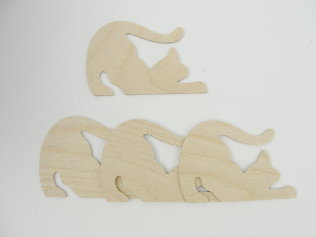 Stretching playful cat cutouts set of 4 - Wood parts - Craft Supply House
