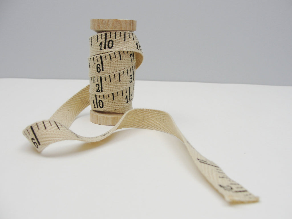 Ruler print twill tape 3 yards on wooden spool -  - Craft Supply House