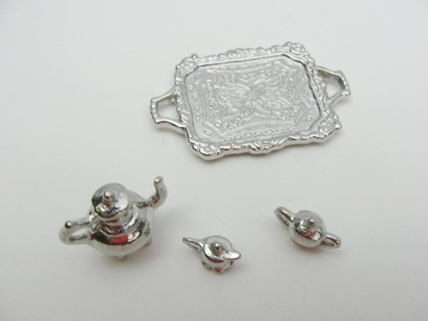 Dollhouse miniature silver tea set on tray - Miniatures - Craft Supply House