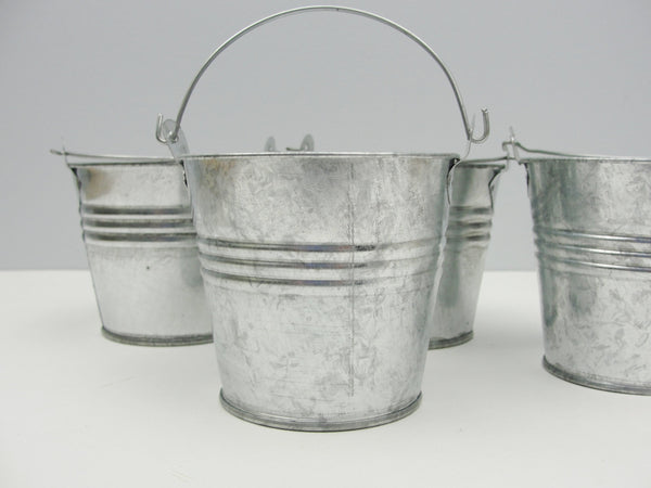 Small galvanized metal buckets set of 4