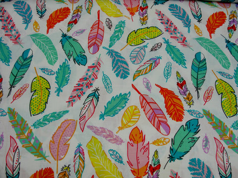 3 wishes feather pastel on white fabric yardage - Fabric - Craft Supply House
