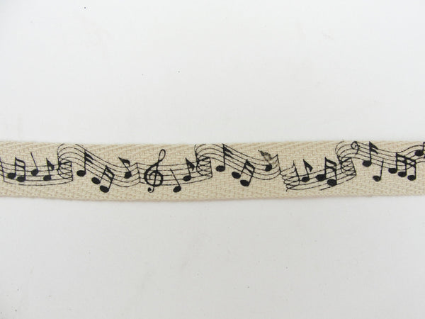 Music notes twill tape 3 yards on wooden spool - Mixed Media Art Supplies - Craft Supply House