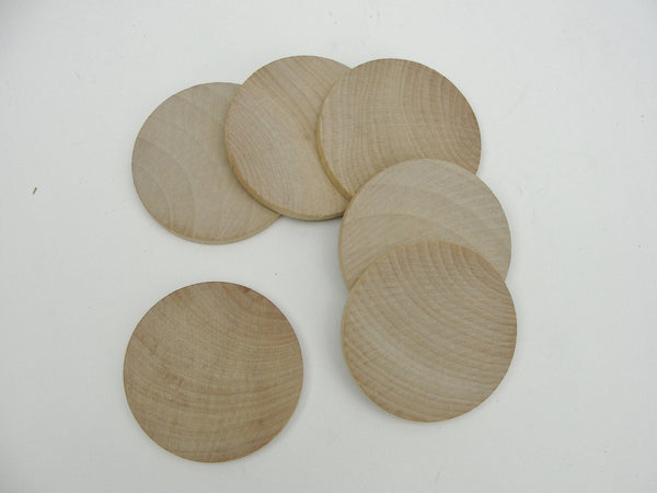 "6 Wooden 2 1/2"" circles, wood disk, wood disc unfinished DIY - Wood parts - Craft Supply House"