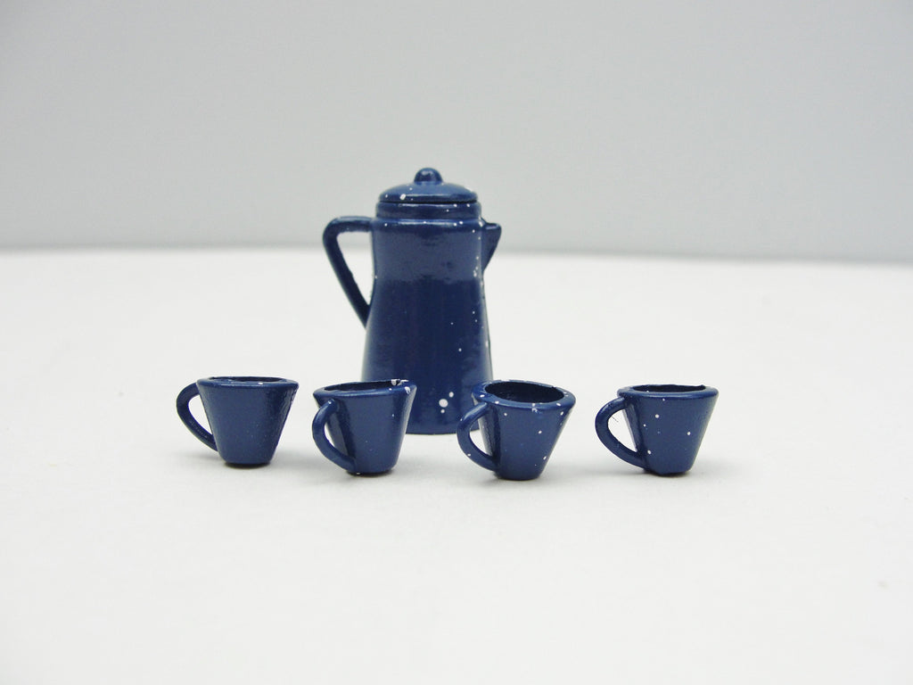 Dollhouse miniature metal coffee pot and cups - Miniatures - Craft Supply House