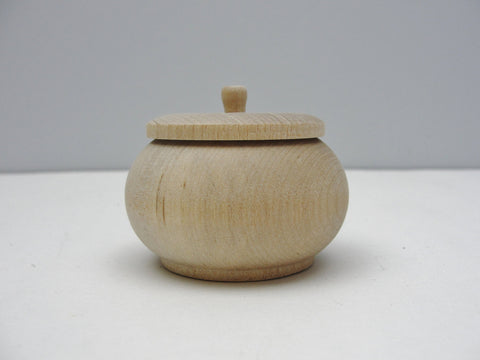 Wood vanity jar, unfinished wooden jar, trinket box