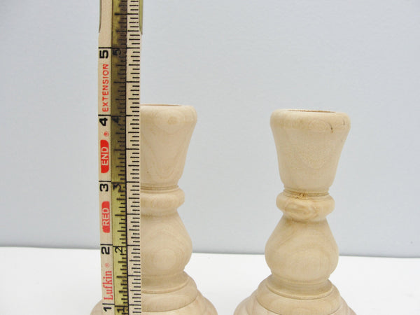 4 inch wood candle stick pair, candlestick pair, candle holders set of 2 - Wood parts - Craft Supply House
